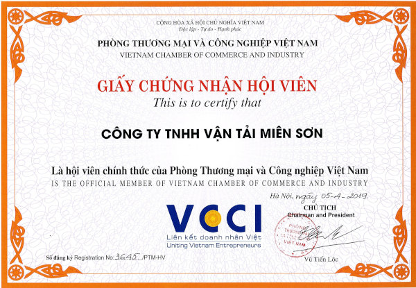 Giấy chứng nhận Mison Trans là hội viên của VCCI