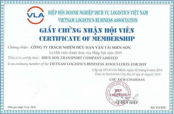 Giấy chứng nhận Mison Trans là hội viên của VLA