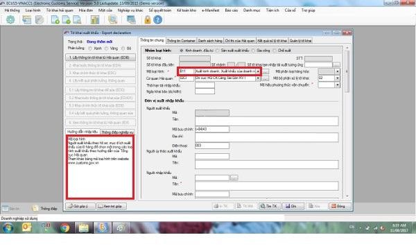 Tab thông tin chung - tờ khai hải quan xuất khẩu