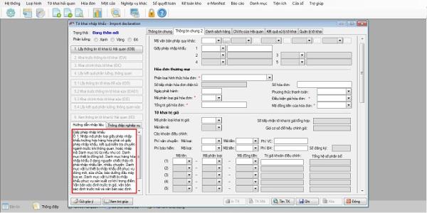 Tab Thông tin chung 2 – Tờ khai báo hải quan nhập khẩu