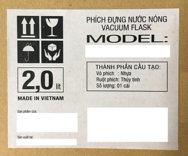 Nhãn hàng hóa dán trên bao bì sản phẩm theo quy định về nhãn hàng hóa